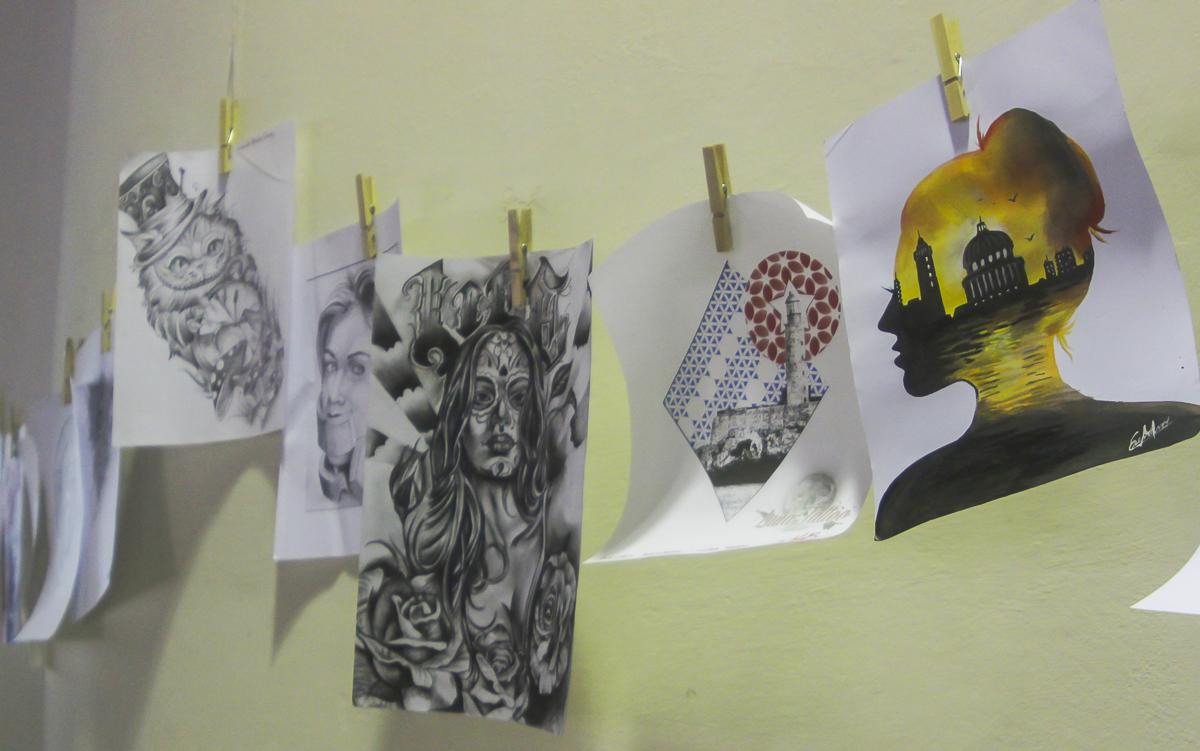 Una muestra de los dibujos expuestos durante esta edición de Havana Tattoo Expo.